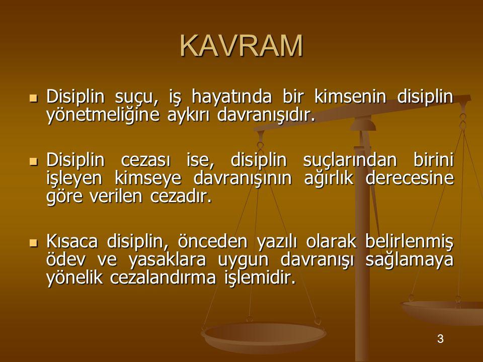 KAVRAM Disiplin suçu, iş hayatında bir kimsenin disiplin yönetmeliğine aykırı davranışıdır. Disiplin suçu, iş hayatında bir kimsenin disiplin yönetmel
