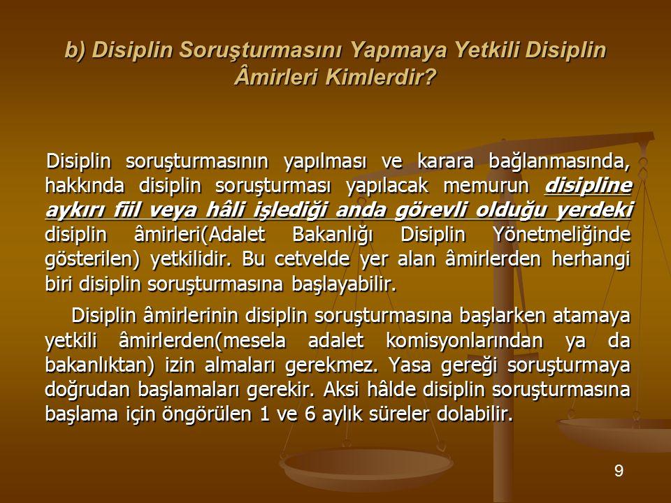 b) Disiplin Soruşturmasını Yapmaya Yetkili Disiplin Âmirleri Kimlerdir? Disiplin soruşturmasının yapılması ve karara bağlanmasında, hakkında disiplin