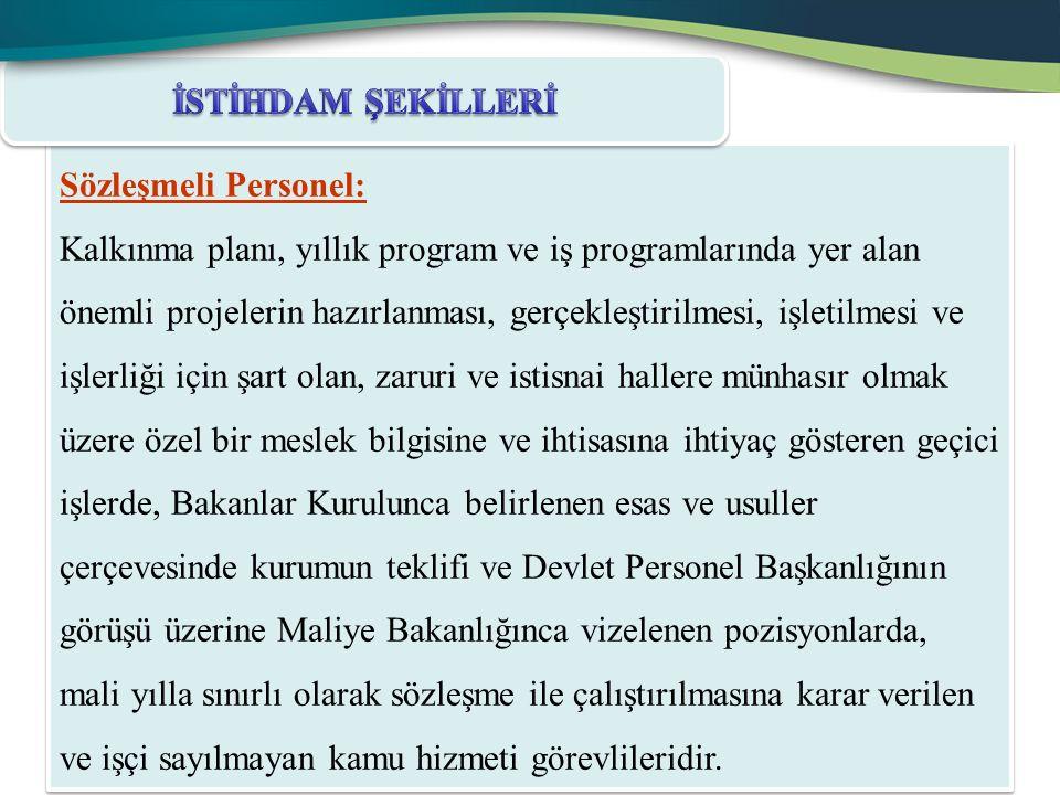 Sözleşmeli Personel: Kalkınma planı, yıllık program ve iş programlarında yer alan önemli projelerin hazırlanması, gerçekleştirilmesi, işletilmesi ve i