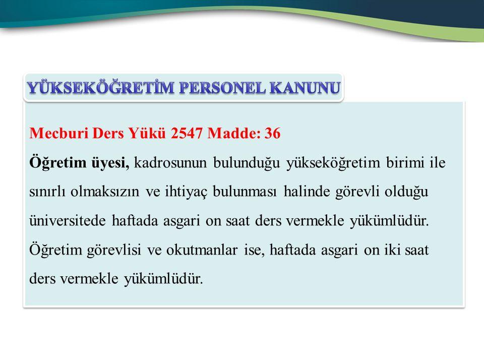 Mecburi Ders Yükü 2547 Madde: 36 Öğretim üyesi, kadrosunun bulunduğu yükseköğretim birimi ile sınırlı olmaksızın ve ihtiyaç bulunması halinde görevli
