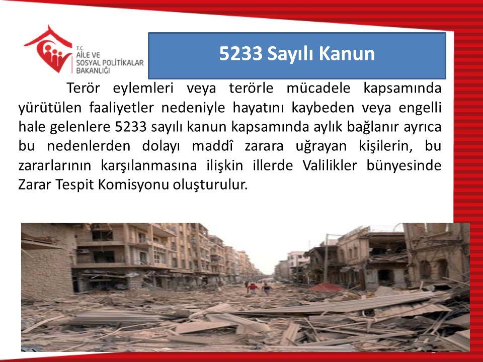 Terör eylemleri veya terörle mücadele kapsamında yürütülen faaliyetler nedeniyle hayatını kaybeden veya engelli hale gelenlere 5233 sayılı kanun kapsa