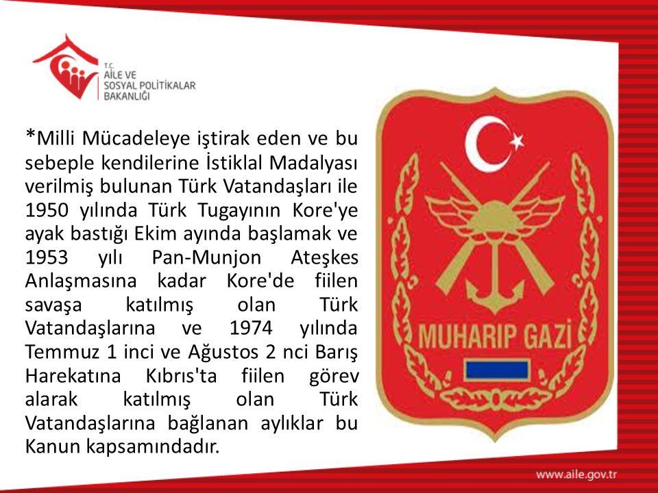 * Milli Mücadeleye iştirak eden ve bu sebeple kendilerine İstiklal Madalyası verilmiş bulunan Türk Vatandaşları ile 1950 yılında Türk Tugayının Kore'y