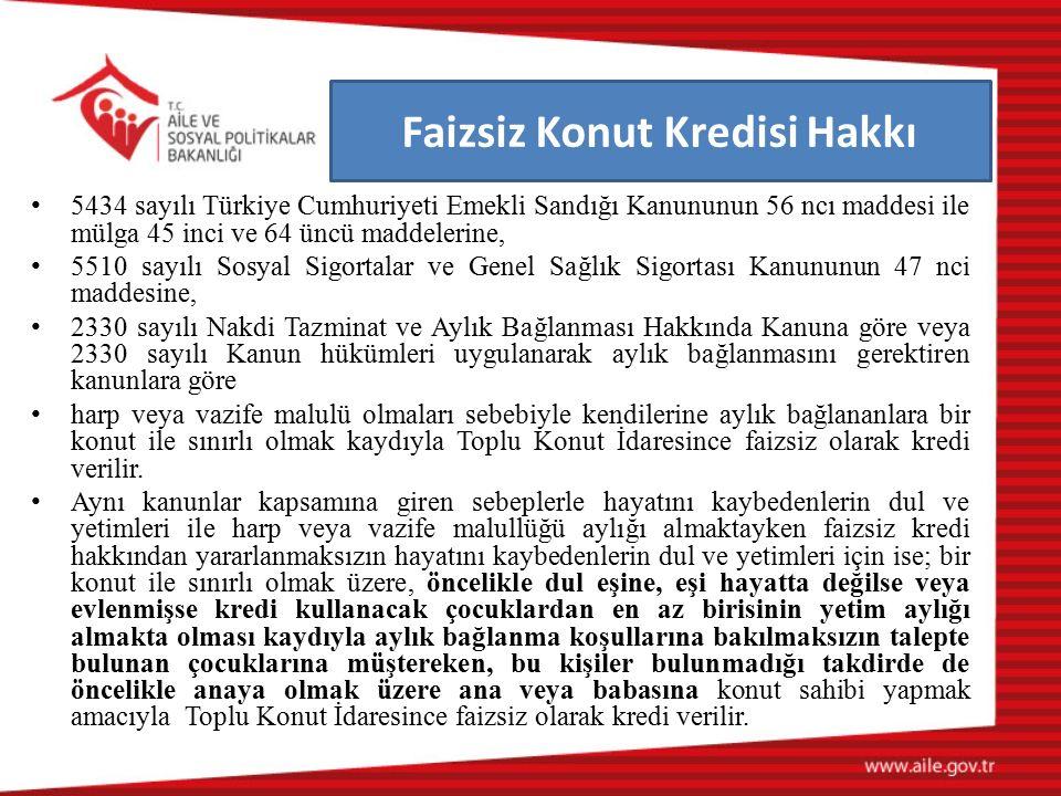 Faizsiz Konut Kredisi Hakkı 5434 sayılı Türkiye Cumhuriyeti Emekli Sandığı Kanununun 56 ncı maddesi ile mülga 45 inci ve 64 üncü maddelerine, 5510 say