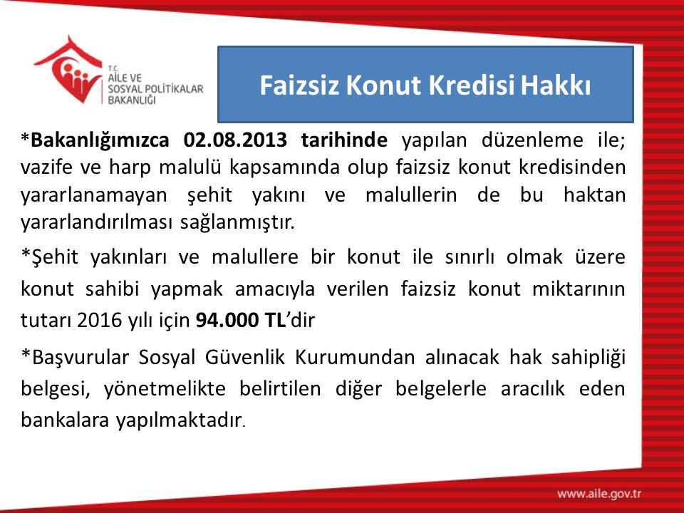 Faizsiz Konut Kredisi Hakkı * Bakanlığımızca 02.08.2013 tarihinde yapılan düzenleme ile; vazife ve harp malulü kapsamında olup faizsiz konut kredisind