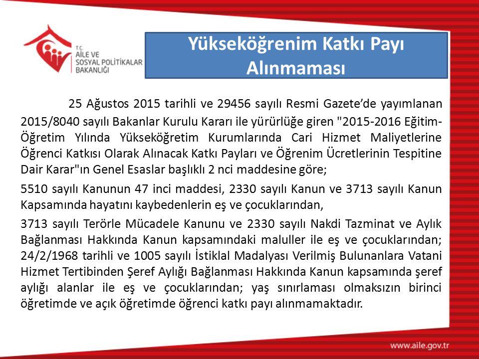 25 Ağustos 2015 tarihli ve 29456 sayılı Resmi Gazete'de yayımlanan 2015/8040 sayılı Bakanlar Kurulu Kararı ile yürürlüğe giren