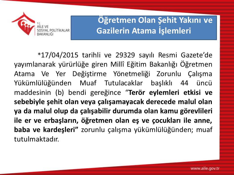 * 17/04/2015 tarihli ve 29329 sayılı Resmi Gazete'de yayımlanarak yürürlüğe giren Millî Eğitim Bakanlığı Öğretmen Atama Ve Yer Değiştirme Yönetmeliği