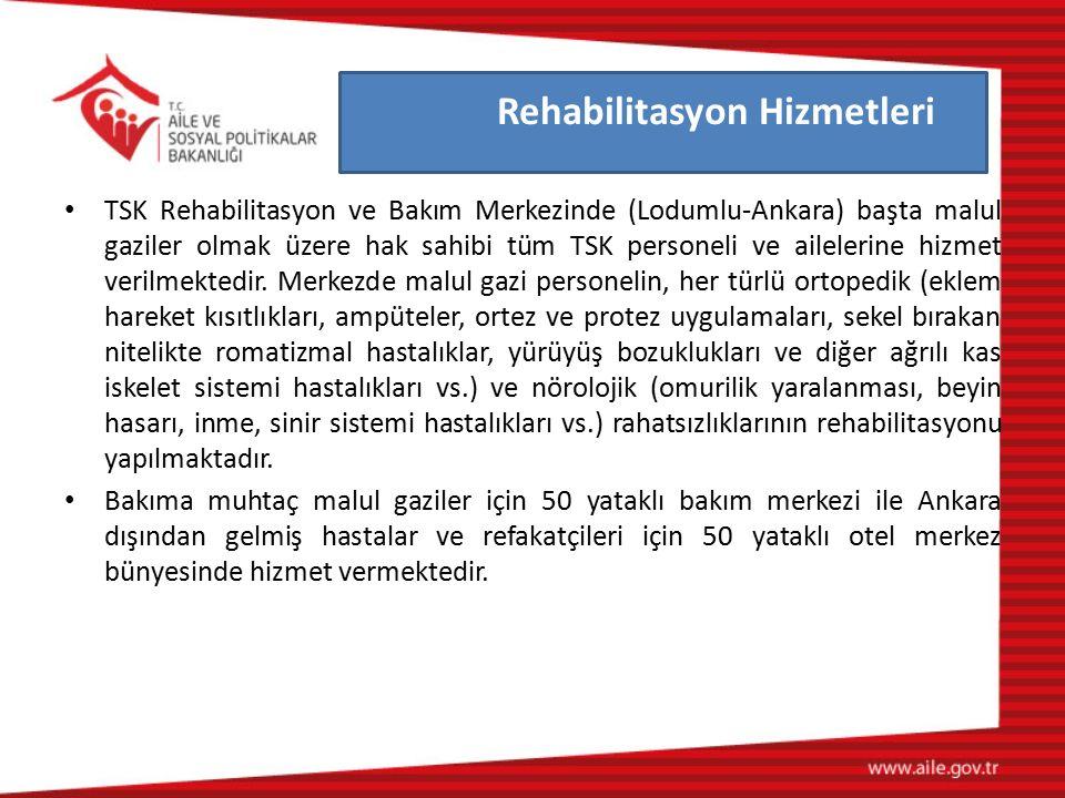 TSK Rehabilitasyon ve Bakım Merkezinde (Lodumlu-Ankara) başta malul gaziler olmak üzere hak sahibi tüm TSK personeli ve ailelerine hizmet verilmektedi