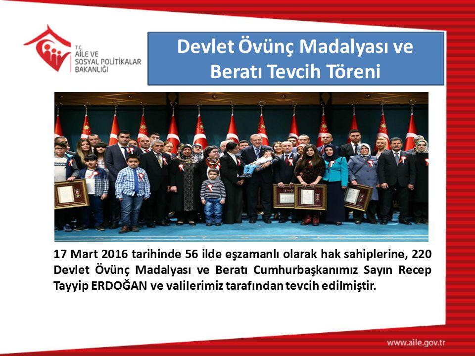 17 Mart 2016 tarihinde 56 ilde eşzamanlı olarak hak sahiplerine, 220 Devlet Övünç Madalyası ve Beratı Cumhurbaşkanımız Sayın Recep Tayyip ERDOĞAN ve v
