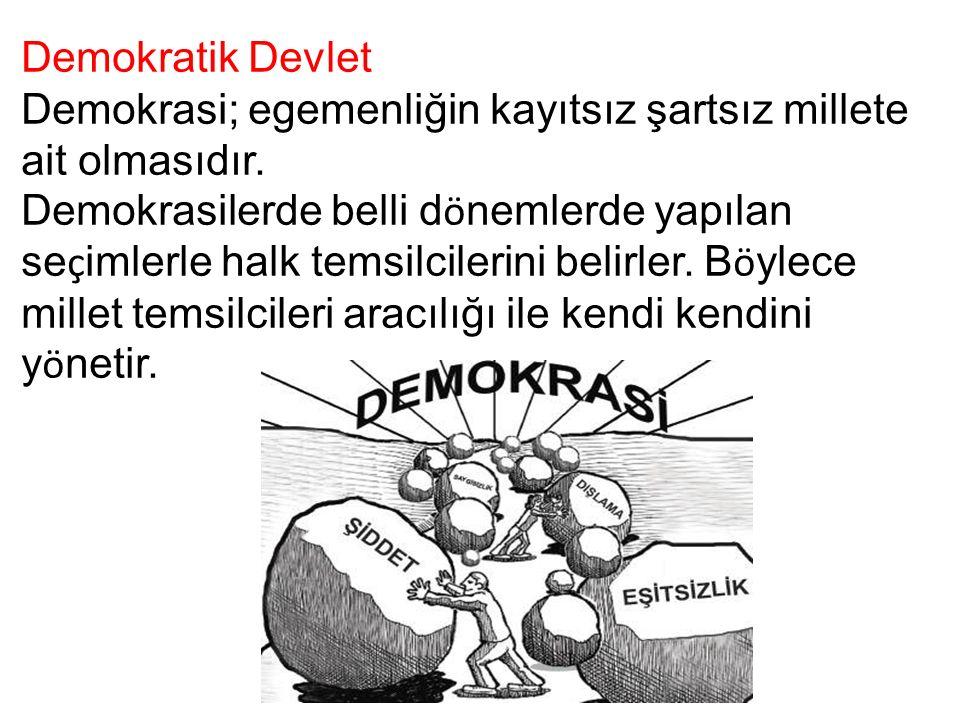 Demokratik Devlet Demokrasi; egemenliğin kayıtsız şartsız millete ait olmasıdır.