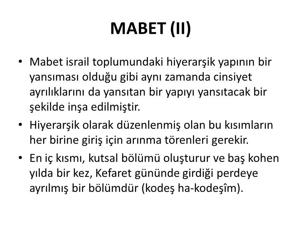 MABET (II) Mabet israil toplumundaki hiyerarşik yapının bir yansıması olduğu gibi aynı zamanda cinsiyet ayrılıklarını da yansıtan bir yapıyı yansıtaca