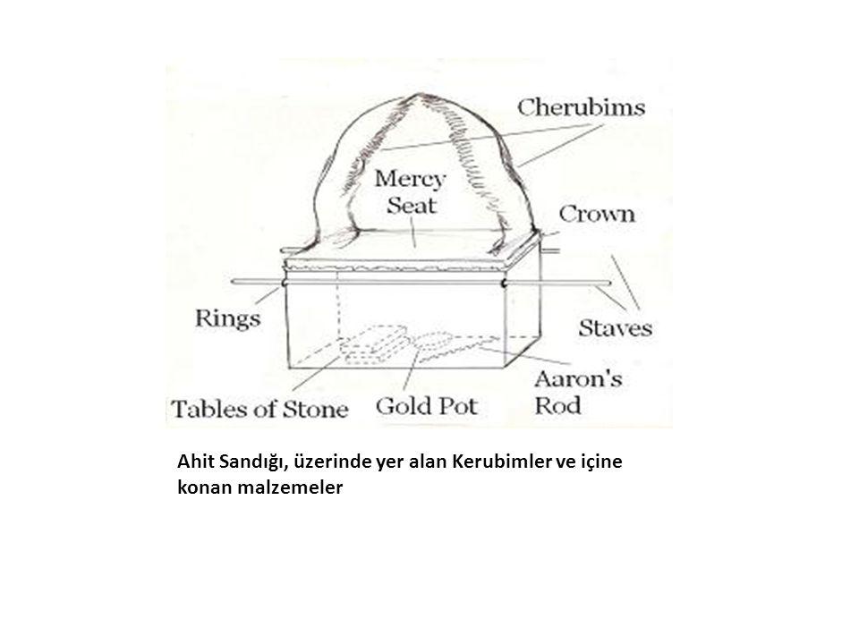 Ahit Sandığı, üzerinde yer alan Kerubimler ve içine konan malzemeler