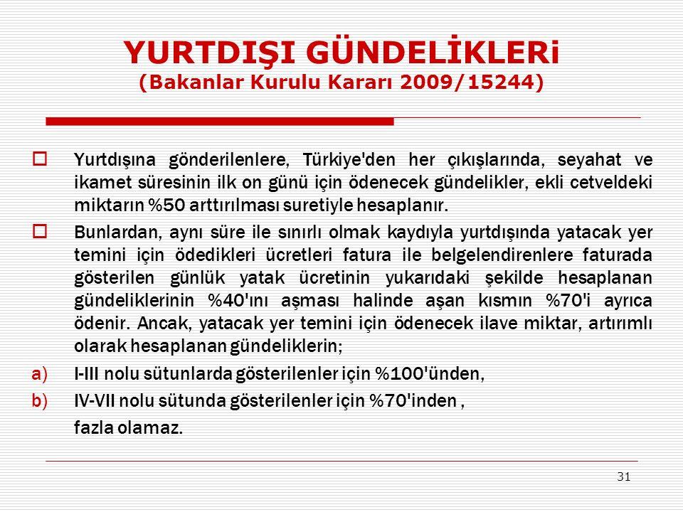 YURTDIŞI GÜNDELİKLERi (Bakanlar Kurulu Kararı 2009/15244)  Yurtdışına gönderilenlere, Türkiye den her çıkışlarında, seyahat ve ikamet süresinin ilk on günü için ödenecek gündelikler, ekli cetveldeki miktarın %50 arttırılması suretiyle hesaplanır.