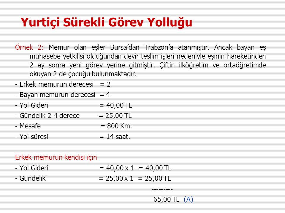 Örnek 2: Memur olan eşler Bursa'dan Trabzon'a atanmıştır.