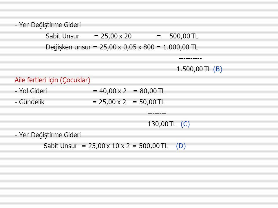 - Yer Değiştirme Gideri Sabit Unsur = 25,00 x 20 = 500,00 TL Değişken unsur = 25,00 x 0,05 x 800 = 1.000,00 TL ---------- 1.500,00 TL (B) Aile fertleri için (Çocuklar) - Yol Gideri = 40,00 x 2 = 80,00 TL - Gündelik = 25,00 x 2 = 50,00 TL -------- 130,00 TL (C) - Yer Değiştirme Gideri Sabit Unsur = 25,00 x 10 x 2 = 500,00 TL (D)