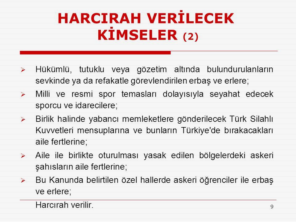 HARCIRAH VERİLECEK KİMSELER (2)  Hükümlü, tutuklu veya gözetim altında bulundurulanların sevkinde ya da refakatle görevlendirilen erbaş ve erlere;  Milli ve resmi spor temasları dolayısıyla seyahat edecek sporcu ve idarecilere;  Birlik halinde yabancı memleketlere gönderilecek Türk Silahlı Kuvvetleri mensuplarına ve bunların Türkiye de bırakacakları aile fertlerine;  Aile ile birlikte oturulması yasak edilen bölgelerdeki askeri şahısların aile fertlerine;  Bu Kanunda belirtilen özel hallerde askeri öğrenciler ile erbaş ve erlere; Harcırah verilir.
