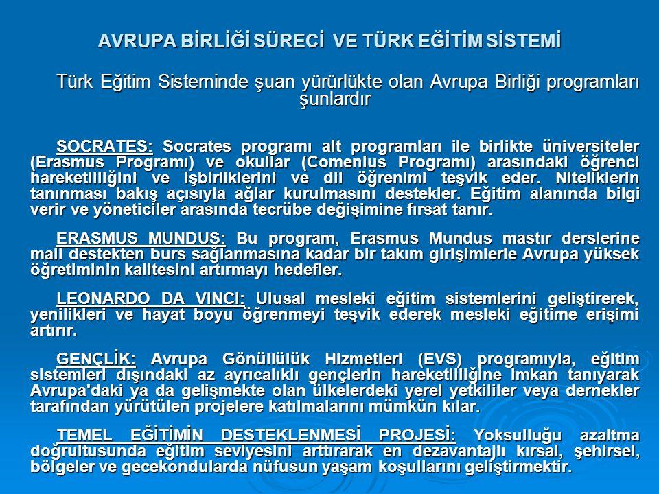 AVRUPA BİRLİĞİ SÜRECİ VE TÜRK EĞİTİM SİSTEMİ Türk Eğitim Sisteminde şuan yürürlükte olan Avrupa Birliği programları şunlardır SOCRATES: Socrates programı alt programları ile birlikte üniversiteler (Erasmus Programı) ve okullar (Comenius Programı) arasındaki öğrenci hareketliliğini ve işbirliklerini ve dil öğrenimi teşvik eder.