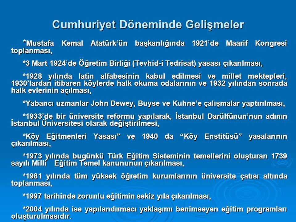 Cumhuriyet Döneminde Gelişmeler * Mustafa Kemal Atatürk'ün başkanlığında 1921'de Maarif Kongresi toplanması, *3 Mart 1924'de Öğretim Birliği (Tevhid-i Tedrisat) yasası çıkarılması, *1928 yılında latin alfabesinin kabul edilmesi ve millet mektepleri, 1930'lardan itibaren köylerde halk okuma odalarının ve 1932 yılından sonrada halk evlerinin açılması, *Yabancı uzmanlar John Dewey, Buyse ve Kuhne'e çalışmalar yaptırılması, *1933'de bir üniversite reformu yapılarak, İstanbul Darülfünun'nun adının İstanbul Üniversitesi olarak değiştirilmesi, *Köy Eğitmenleri Yasası ve 1940 da Köy Enstitüsü yasalarının çıkarılması, *1973 yılında bugünkü Türk Eğitim Sisteminin temellerini oluşturan 1739 sayılı Milli Eğitim Temel kanununun çıkarılması, *1981 yılında tüm yüksek öğretim kurumlarının üniversite çatısı altında toplanması, *1997 tarihinde zorunlu eğitimin sekiz yıla çıkarılması, *2004 yılında ise yapılandırmacı yaklaşımı benimseyen eğitim programları oluşturulmasıdır.