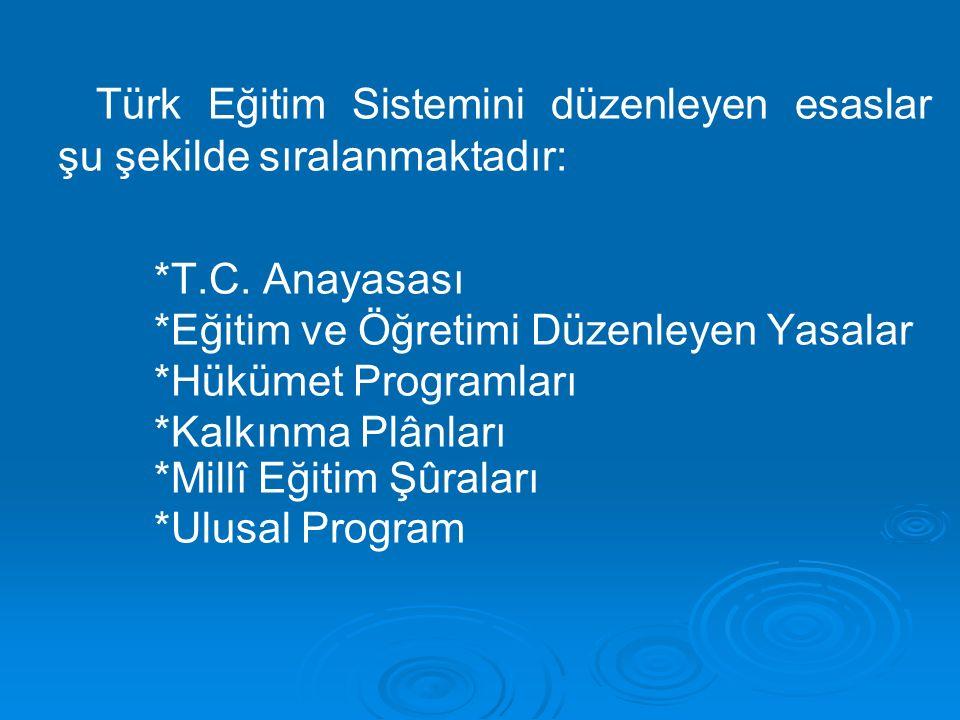 Türk Eğitim Sistemini düzenleyen esaslar şu şekilde sıralanmaktadır: *T.C.