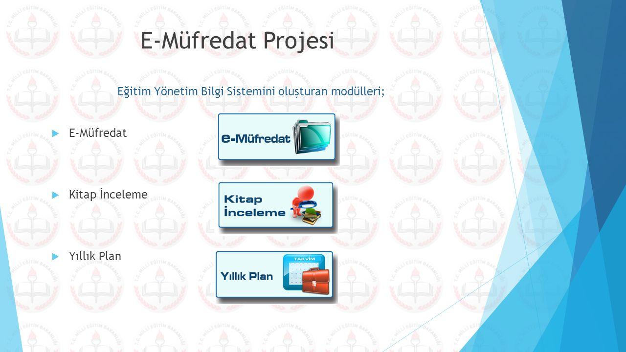 Eğitim Yönetim Bilgi Sistemini oluşturan modülleri;  E-Müfredat  Kitap İnceleme  Yıllık Plan E-Müfredat Projesi