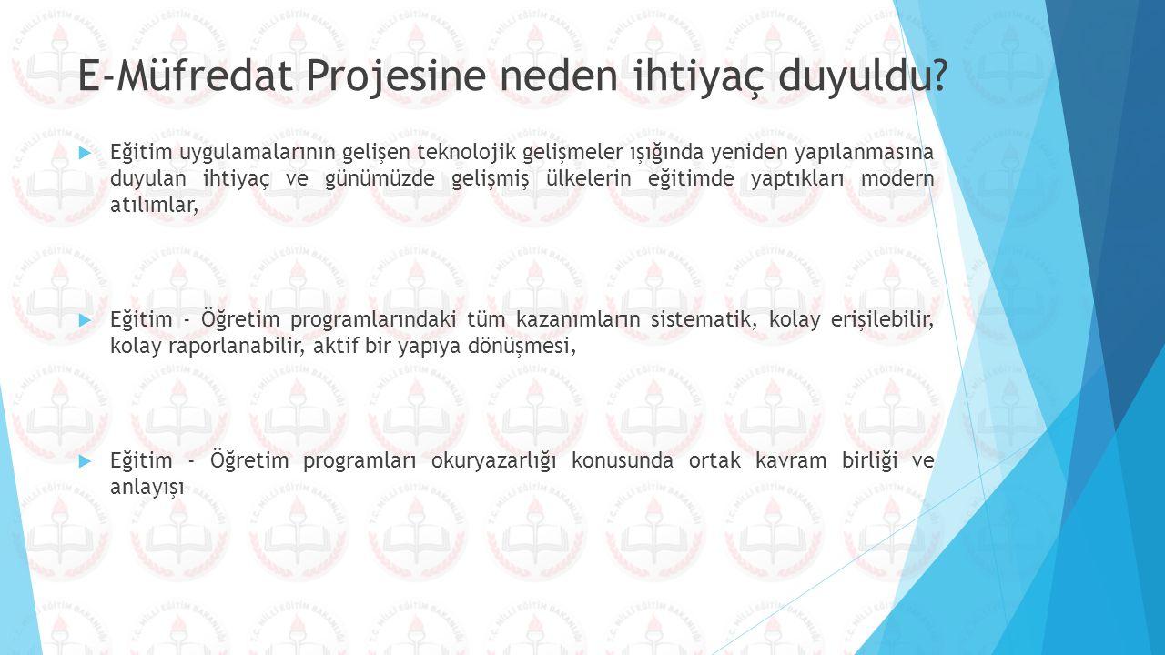 E-Müfredat Projesine neden ihtiyaç duyuldu?  Eğitim uygulamalarının gelişen teknolojik gelişmeler ışığında yeniden yapılanmasına duyulan ihtiyaç ve g