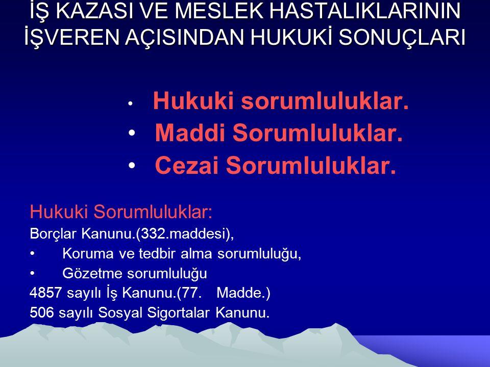 İŞ KAZASI VE MESLEK HASTALIKLARININ İŞVEREN AÇISINDAN HUKUKİ SONUÇLARI Hukuki sorumluluklar.