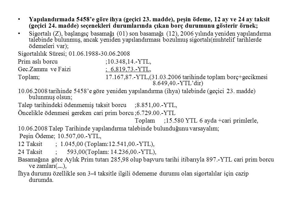 Yapılandırmada peşin ödeme durumu ile ilgili örnek; Sigortalı (A)'nın; 10.09.1974-20.04.1982, 22.03.1985-04.05.1987, 01.05.1991-19.02.1995, 02.12.1995-29.07.2005 tarihleri arası; 23 yıl, 2 ay, 7 gün Bağ-Kur hizmeti ve 1977 yılında 96.-Türk lirası ödemesi vardır.