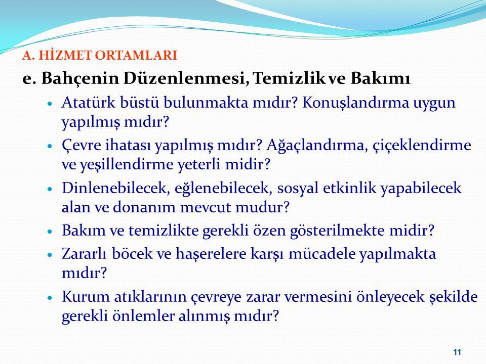 11 A.HİZMET ORTAMLARI e. Bahçenin Düzenlenmesi, Temizlik ve Bakımı Atatürk büstü bulunmakta mıdır.