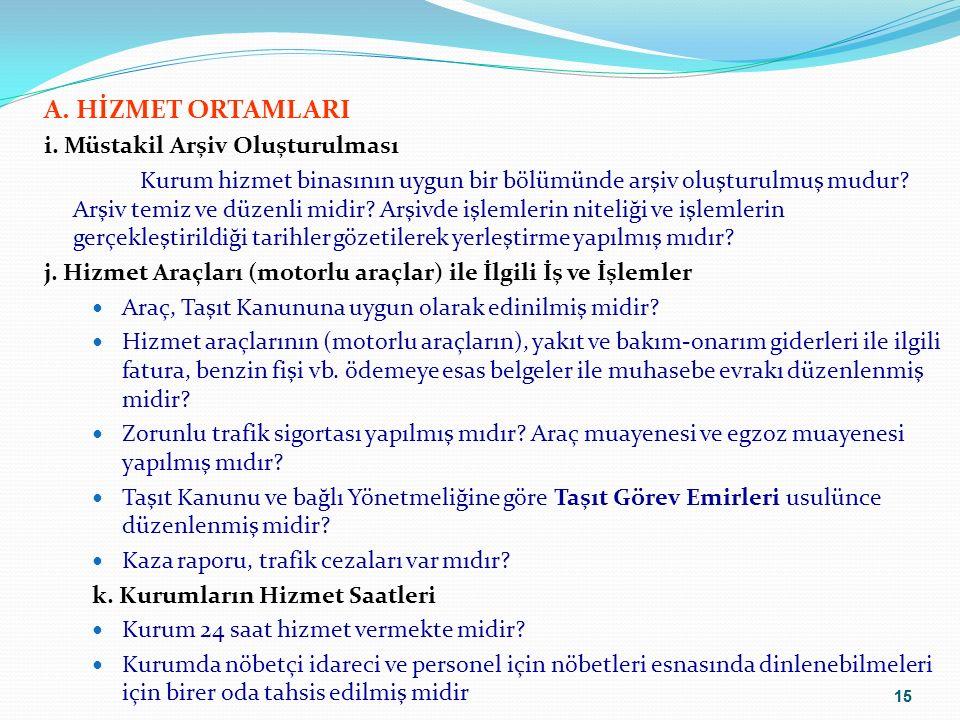 15 A. HİZMET ORTAMLARI i.