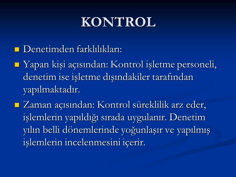 KONTROL Denetimden farklılıkları: Denetimden farklılıkları: Yapan kişi açısından: Kontrol işletme personeli, denetim ise işletme dışındakiler tarafından yapılmaktadır.