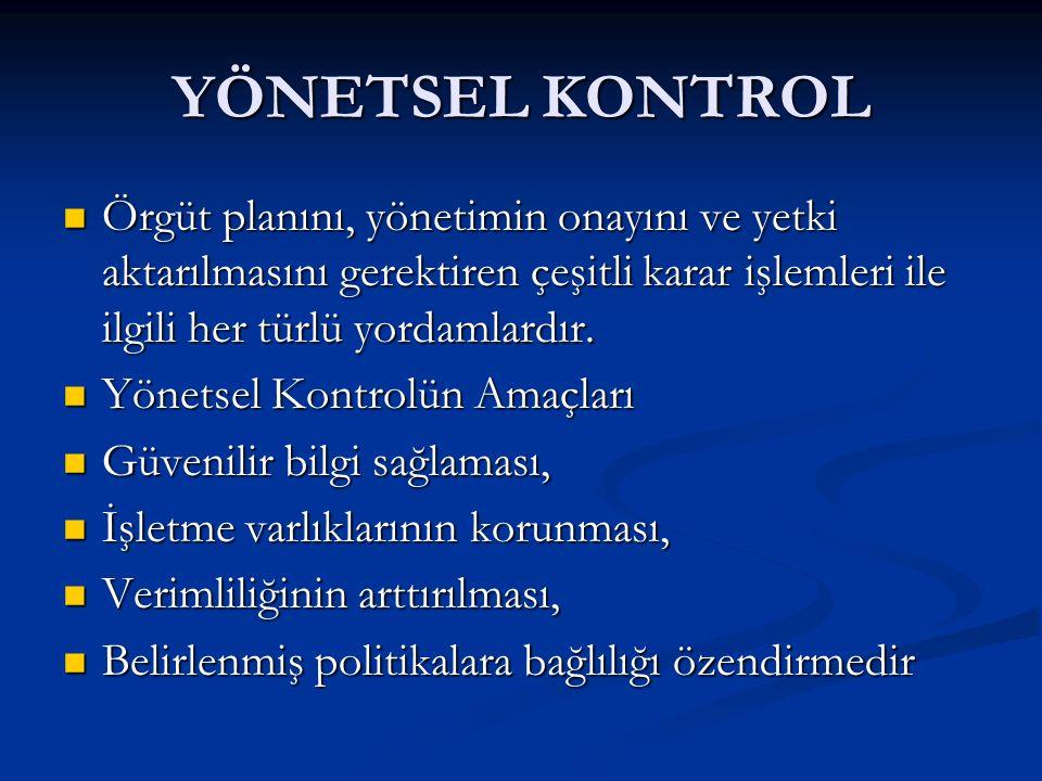 YÖNETSEL KONTROL Örgüt planını, yönetimin onayını ve yetki aktarılmasını gerektiren çeşitli karar işlemleri ile ilgili her türlü yordamlardır.