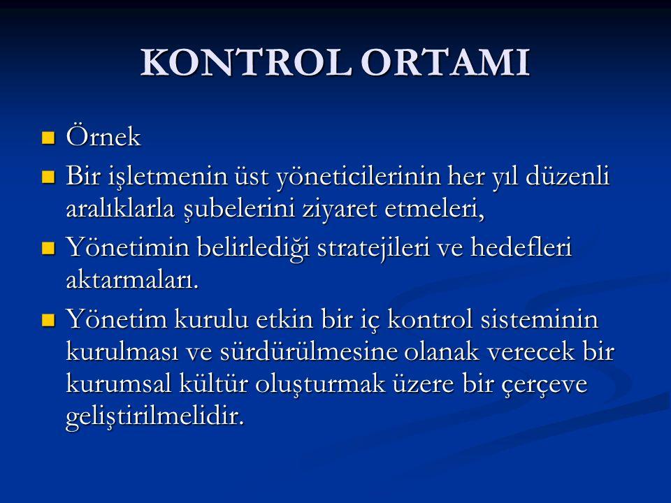 KONTROL ORTAMI Örnek Örnek Bir işletmenin üst yöneticilerinin her yıl düzenli aralıklarla şubelerini ziyaret etmeleri, Bir işletmenin üst yöneticilerinin her yıl düzenli aralıklarla şubelerini ziyaret etmeleri, Yönetimin belirlediği stratejileri ve hedefleri aktarmaları.