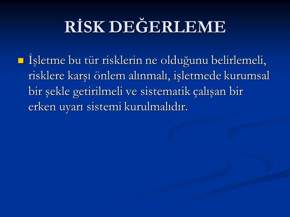 RİSK DEĞERLEME İşletme bu tür risklerin ne olduğunu belirlemeli, risklere karşı önlem alınmalı, işletmede kurumsal bir şekle getirilmeli ve sistematik çalışan bir erken uyarı sistemi kurulmalıdır.