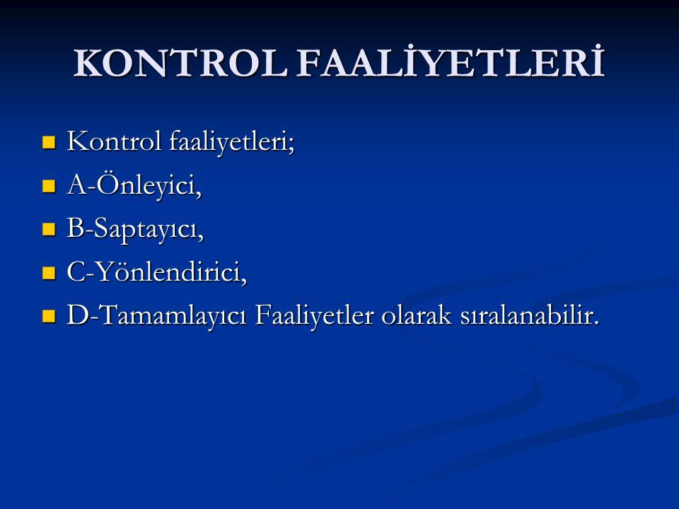 KONTROL FAALİYETLERİ Kontrol faaliyetleri; Kontrol faaliyetleri; A-Önleyici, A-Önleyici, B-Saptayıcı, B-Saptayıcı, C-Yönlendirici, C-Yönlendirici, D-Tamamlayıcı Faaliyetler olarak sıralanabilir.