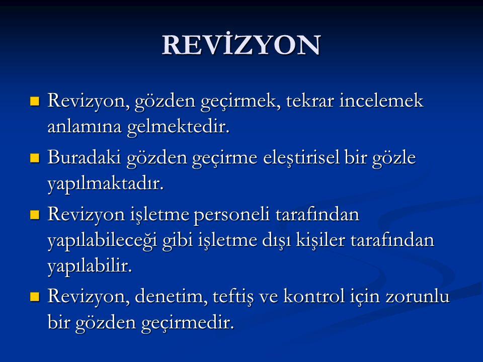 REVİZYON Revizyon, gözden geçirmek, tekrar incelemek anlamına gelmektedir.