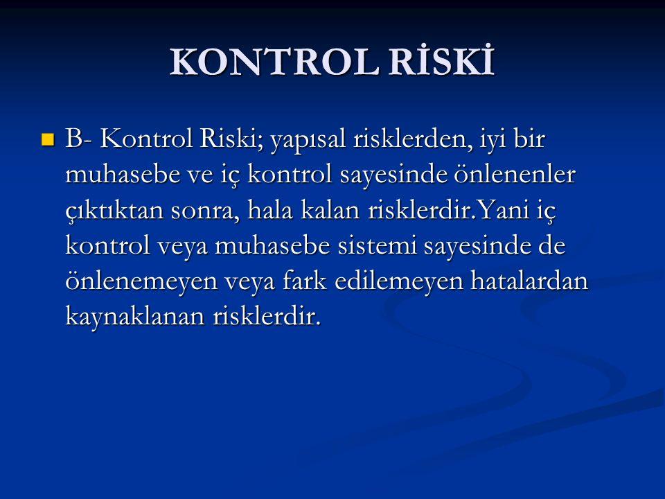KONTROL RİSKİ B- Kontrol Riski; yapısal risklerden, iyi bir muhasebe ve iç kontrol sayesinde önlenenler çıktıktan sonra, hala kalan risklerdir.Yani iç kontrol veya muhasebe sistemi sayesinde de önlenemeyen veya fark edilemeyen hatalardan kaynaklanan risklerdir.