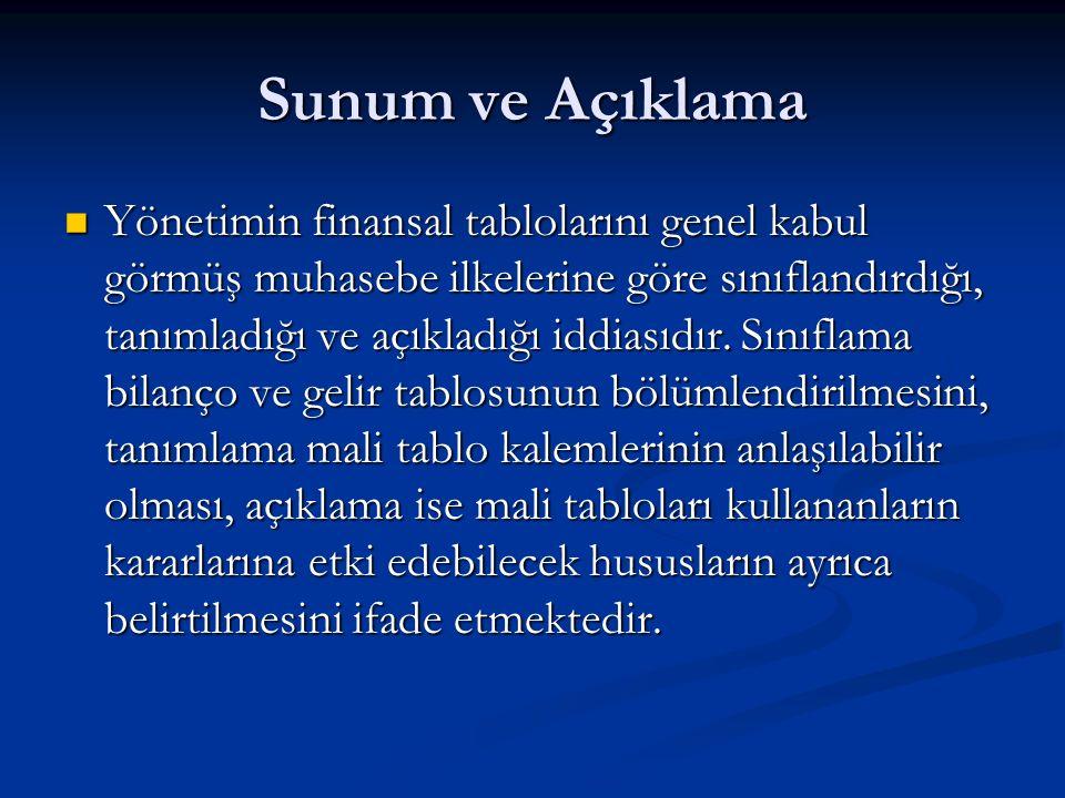 Sunum ve Açıklama Yönetimin finansal tablolarını genel kabul görmüş muhasebe ilkelerine göre sınıflandırdığı, tanımladığı ve açıkladığı iddiasıdır.