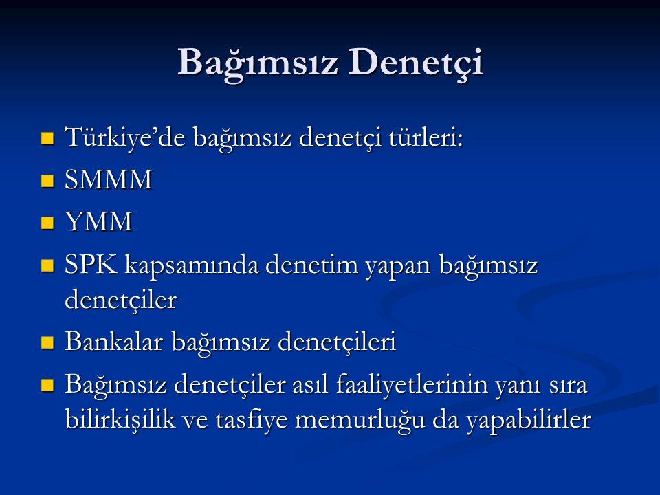 Bağımsız Denetçi Türkiye'de bağımsız denetçi türleri: Türkiye'de bağımsız denetçi türleri: SMMM SMMM YMM YMM SPK kapsamında denetim yapan bağımsız denetçiler SPK kapsamında denetim yapan bağımsız denetçiler Bankalar bağımsız denetçileri Bankalar bağımsız denetçileri Bağımsız denetçiler asıl faaliyetlerinin yanı sıra bilirkişilik ve tasfiye memurluğu da yapabilirler Bağımsız denetçiler asıl faaliyetlerinin yanı sıra bilirkişilik ve tasfiye memurluğu da yapabilirler