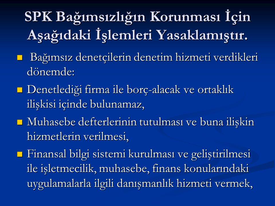 SPK Bağımsızlığın Korunması İçin Aşağıdaki İşlemleri Yasaklamıştır.