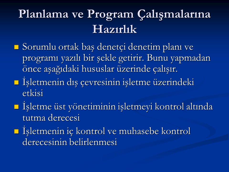 Planlama ve Program Çalışmalarına Hazırlık Sorumlu ortak baş denetçi denetim planı ve programı yazılı bir şekle getirir.