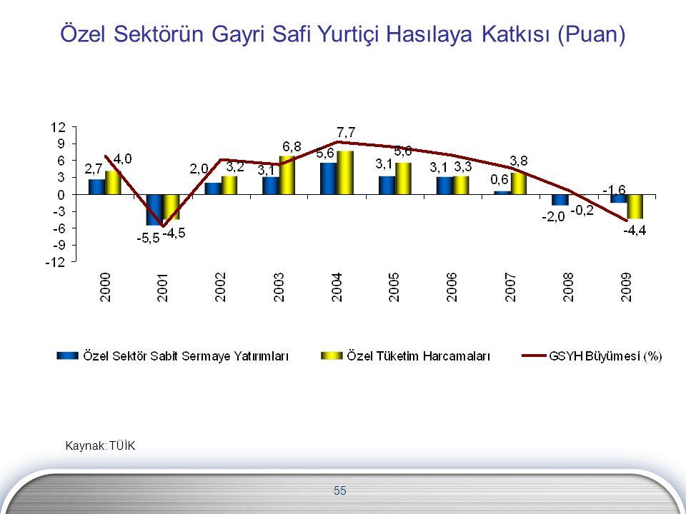 55 Özel Sektörün Gayri Safi Yurtiçi Hasılaya Katkısı (Puan) Kaynak: TÜİK