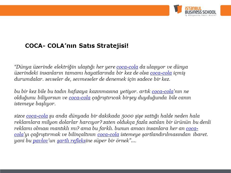 COCA- COLA'nın Satıs Stratejisi.