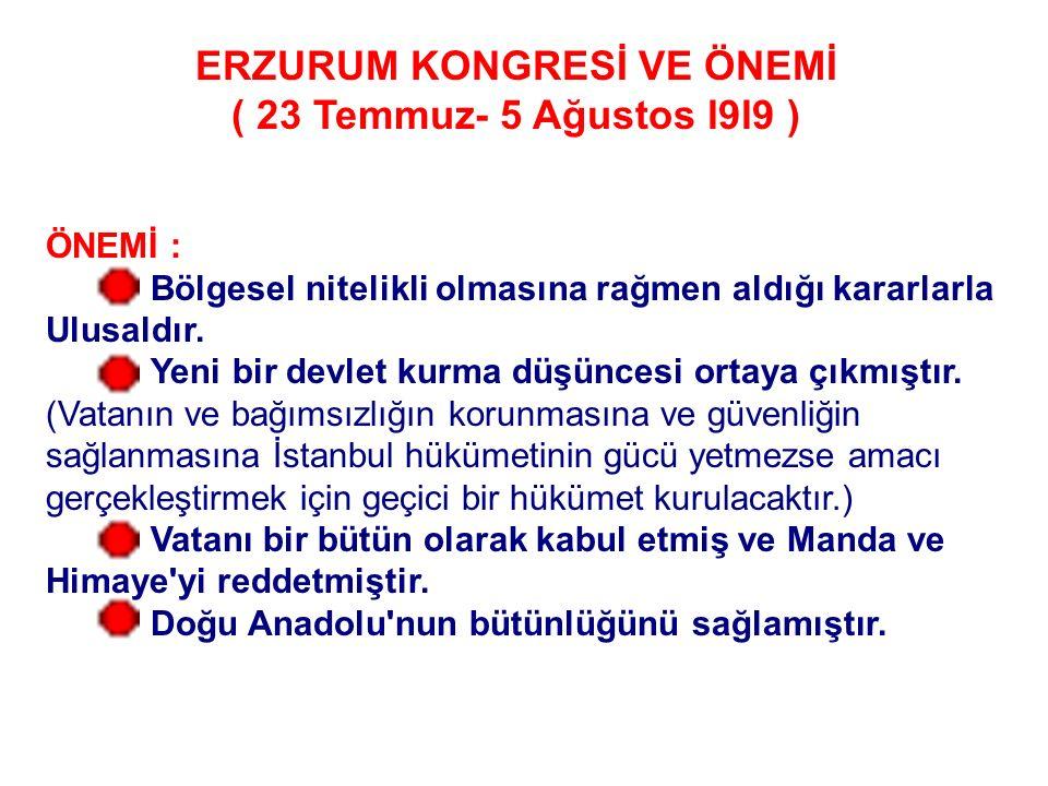23 Temmuz'da toplanan Erzurum kongresi şu kararları almıştır : Milli sınırlar içinde vatan bir bütündür. * Vatan sınırlarından ilk söz ediş. Sınırlar