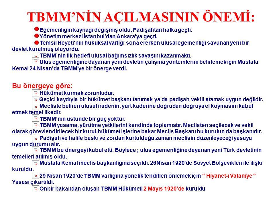 M.KEMAL'İN İSTANBUL'UN İŞGALİNE KARŞI ALDIĞI TEDBİRLER Anadolu'ya yönelik bir işgal hareketini önlemek için Geyve ve Ulukışla'da demiryolları tahrip e