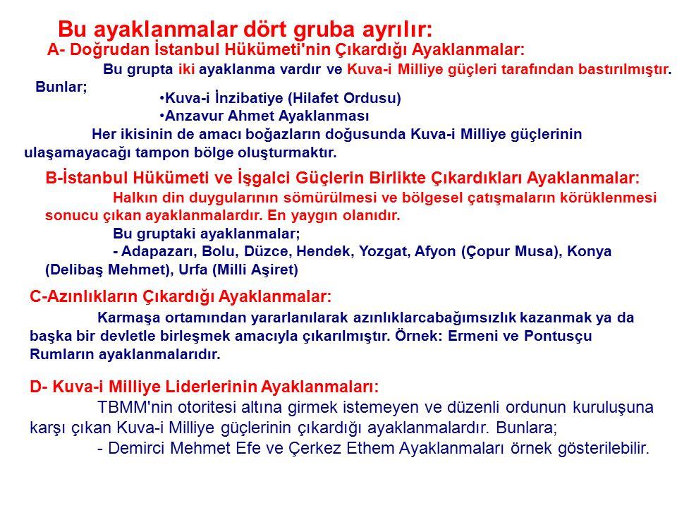 TBMM'nin Açılmasına Karşı İstanbul Hükümeti'nin Yaptığı Engellemeler: Yurdun her yerinde TBMM'ye karşı ayaklanmalar çıkarıldı, İtilaf Devletleri ile b