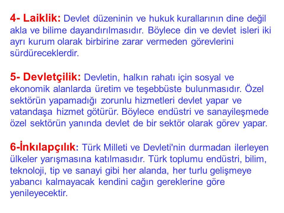 1- Cumhuriyetçilik: Türk Milleti'nin hür seçimlere dayanan en uygun yönetim sekli Cumhuriyet'tir seklinde özetlenebilir. 2- Milliyetçilik: Türk Millet