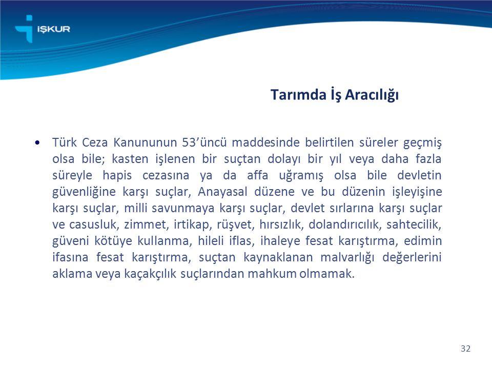 Tarımda İş Aracılığı Türk Ceza Kanununun 53'üncü maddesinde belirtilen süreler geçmiş olsa bile; kasten işlenen bir suçtan dolayı bir yıl veya daha fa