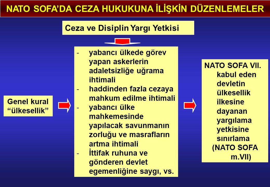 NATO SOFA'DA CEZA HUKUKUNA İLİŞKİN DÜZENLEMELER Ceza ve Disiplin Yargı Yetkisi Genel kural ülkesellik -yabancı ülkede görev yapan askerlerin adaletsizliğe uğrama ihtimali -haddinden fazla cezaya mahkum edilme ihtimali -yabancı ülke mahkemesinde yapılacak savunmanın zorluğu ve masrafların artma ihtimali -İttifak ruhuna ve gönderen devlet egemenliğine saygı, vs.