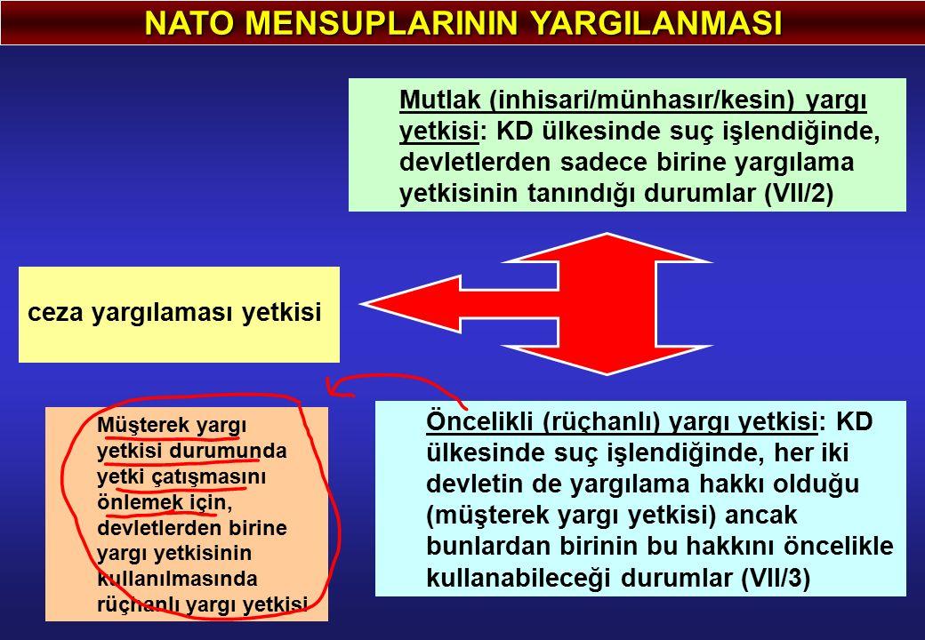 NATO MENSUPLARININ YARGILANMASI ceza yargılaması yetkisi Mutlak (inhisari/münhasır/kesin) yargı yetkisi: KD ülkesinde suç işlendiğinde, devletlerden s
