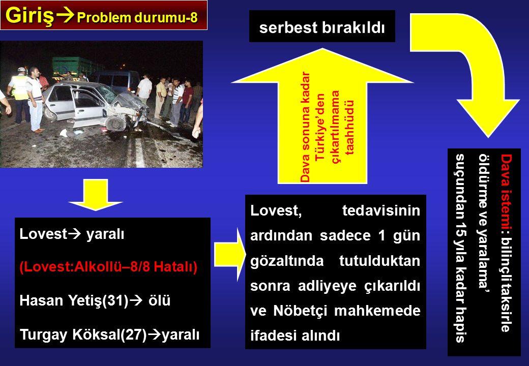 Giriş  Problem durumu-8 Lovest  yaralı (Lovest:Alkollü–8/8 Hatalı) Hasan Yetiş(31)  ölü Turgay Köksal(27)  yaralı Lovest, tedavisinin ardından sadece 1 gün gözaltında tutulduktan sonra adliyeye çıkarıldı ve Nöbetçi mahkemede ifadesi alındı serbest bırakıldı Dava sonuna kadar Türkiye'den çıkartılmama taahhüdü Dava istemi: bilinçli taksirle öldürme ve yaralama' suçundan 15 yıla kadar hapis