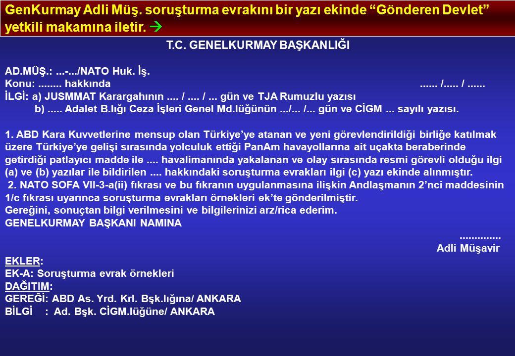 """GenKurmay Adli Müş. soruşturma evrakını bir yazı ekinde """"Gönderen Devlet"""" yetkili makamına iletir.  T.C. GENELKURMAY BAŞKANLIĞI AD.MÜŞ.:...-.../NATO"""
